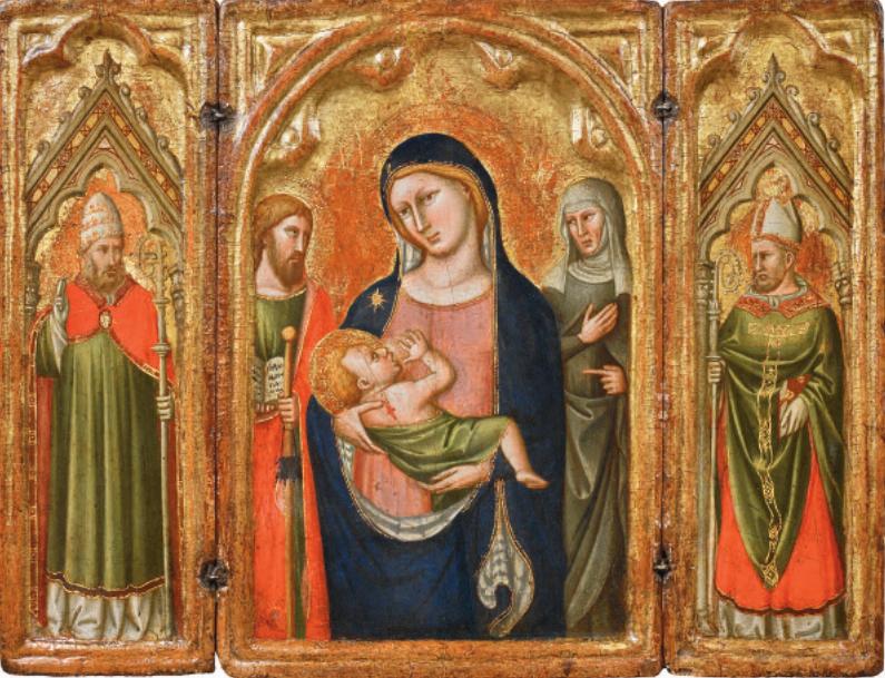 Simone di Filippo, as SIMONE DEI CROCIFISSI, Triptych, 1355-1360 Tempera and gold on panel - 29.5 x 39.5 cm (when open) - GALERIE G. SARTI