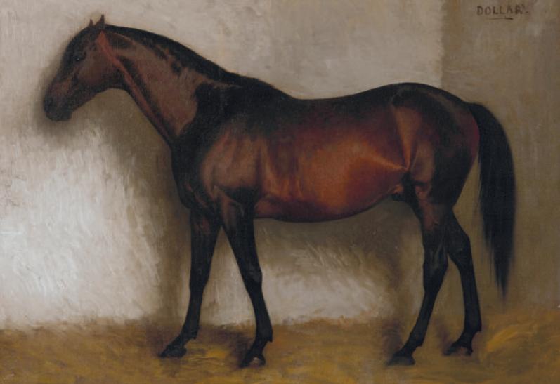 "Jean-Léon GEROME (1824 -1904), Dollar, portrait of a horse, Oil on canvas - 38 x 46.5 cm. Signed ""JL Gérome"" lower left Inscription in capitals, upper right, ""DOLLAR"" - GALERIE DE BAYSER"